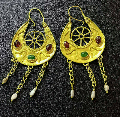 Ancient Solid 22K Gold Crescent Half Moon Ruby Emerald Pearl Dangle Earrings