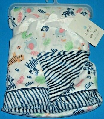 Buttons & Stitches Baby Blanket Safari Jungle Tiger Zebra Elephant Security NEW