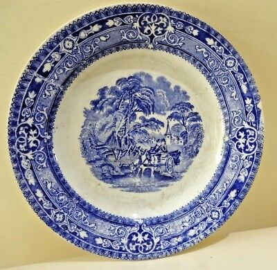 Antique transferware Platte Blue Willow English Staffordshire blue and white #F