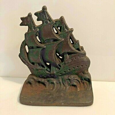 Vintage Cast Iron Spanish Galleon Sailing Ship Doorstop Door Stop Pirate