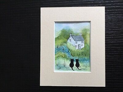 aceo original watercolour painting By Toni Cats Sat By The Cottage