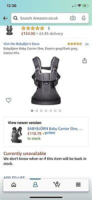 Babybjorn Baby Carrier One Dark Grey/Denim With Manual - Excellent Condition