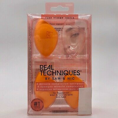 Real Techniques 4 Miracle Complexion Sponges #7135 NEW DAMAGED BOX