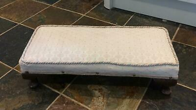 Vintage antique low upholstered footstool foot stool cabriole legs cushioned