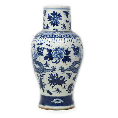 Chinese Ceramic Blue and White Dragon Vase Porcelain Qing