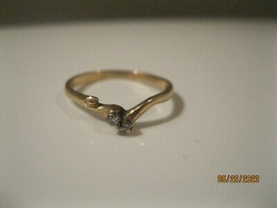 Vintage 14k Yellow Gold Diamond Ring jacket guard enhancer wear or scrap? 1.7gr.