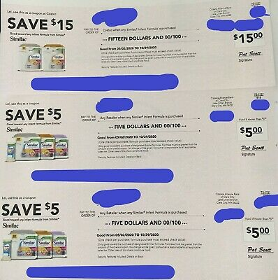 Similac Coupons/Checks For Any Infant and Toddler Formula $25 EXP 10/29/20