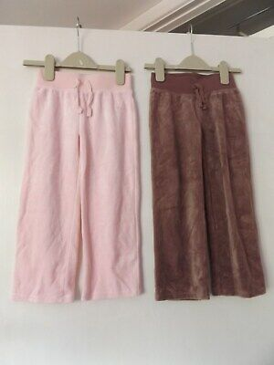 Next x2 girls jogging bottoms pink and brown velvet like aged 4-5 Years