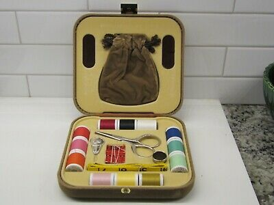 Vintage Travel Sewing Kit in velour case-scissors,thead,thimble,tape,needles