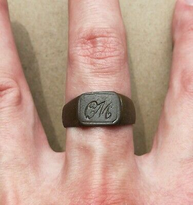 Authentic Medieval Bronze Ring with initials VERY RARE