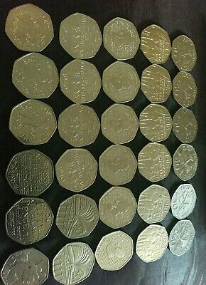 Job Lot, Collectable 50p Coins x 30  All Different. Circulated. See Picture