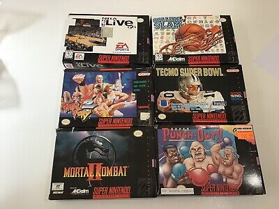 SNES Super Nintendo Empty Box Lot Of Six Boxes Only MK2 Fatal Fury2 Punch Out