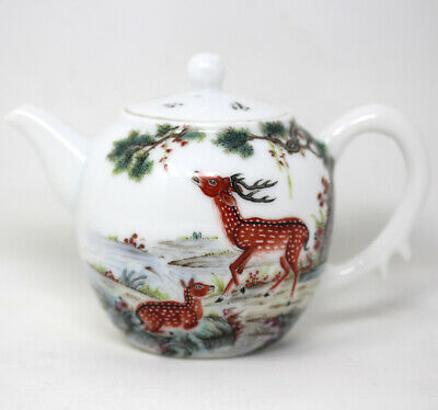 Fine Vintage Antique Chinese Painted Teapot With Signatures
