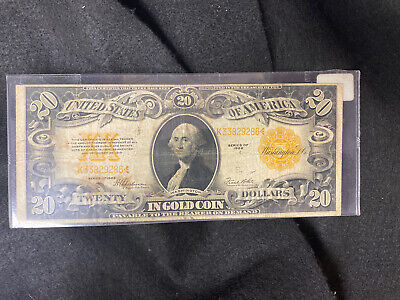 1922 $20 Gold Certificate, Large Yellow/Gold Seal,Circulated
