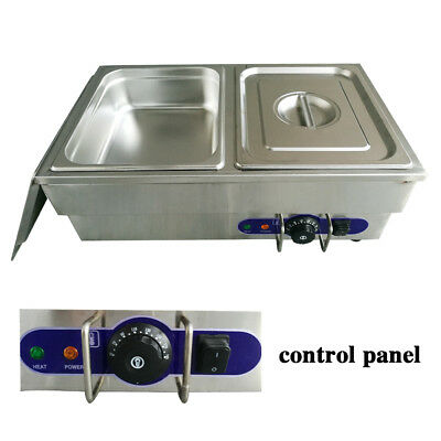 2* 1/2 Pans Bain Marie Electric Stainless Steel  Wet Well Sauce Food Warmer