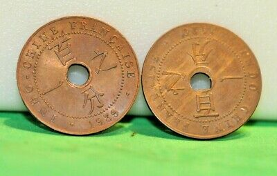 (2) French Indo China Cent Coins 1920,1939