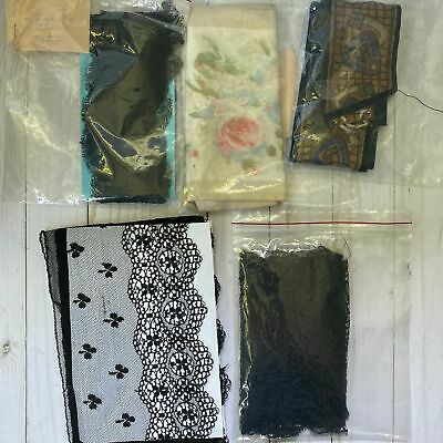 Mixed Lot of Antique and Vintage Black Lace and Silk Ribbon