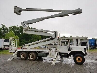2004 Altec 105' Double Elevator Bucket Truck boom on a 1986 Military 6x6 Flatbed