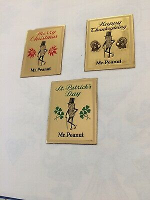Planters Mr Peanut 3 Foil Stickers, Christmas/St.Patrick/Thanksgiving