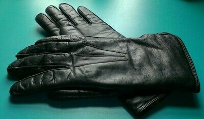 Ladies Black leather, rabbit hair lined, luxury gloves, driving