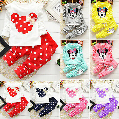 Baby Toddler Girl Boy Clothes Minnie Mouse Tracksuit Sweatshirt Sweatpant Outfit