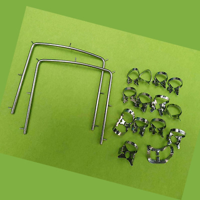 14 Dental Rubber Dam Clamp and 2 frame Endodontic Surgical Instruments