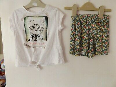 Next lovely girls outfit / set cat top and shorts aged 3 Years