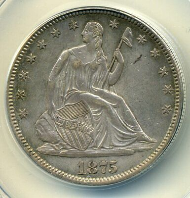 1875 - Seated Liberty Half Dollar, ANACS AU50, cleaned but very attractive