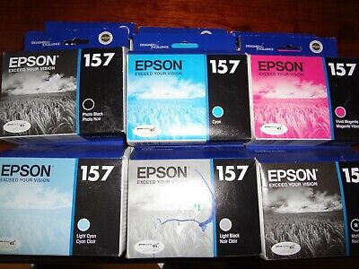 Lot Of 6 New Genuine Epson 157 Ink Stylus Photo R3000