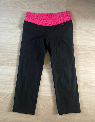 Victoria's Secret Sport Pink Black Capri Yoga Gym Leggings Size S Small 8 10