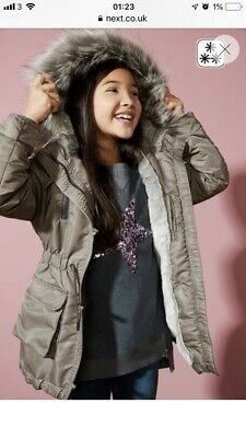 Bnwt Girls Next Pewter Parka Coat Age 16 Years