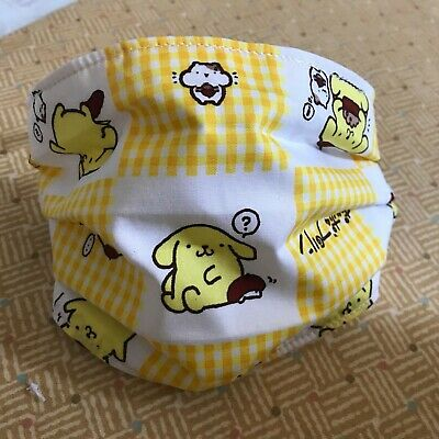 Pompompurin Handmade adult 3 Layer Hello Kitty Fabric Face Mask Sanrio