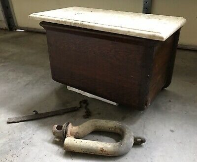 Antique Wood Toilet High Tank Copper Lined Wooden Tiger Oak & Marble Railroad