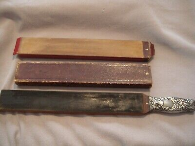 Vintage Rare Whiting Sterling Silver Handle Straight Razor Hone/Strop 4 Surfaces
