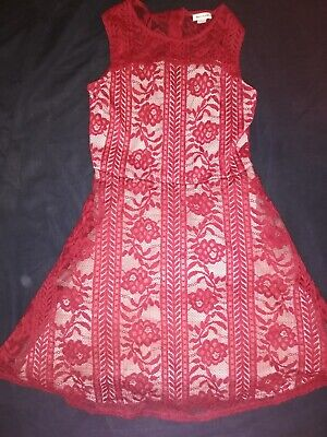 VGC Girls RIVER ISLAND RI Red Lace Sleeveless Stunning Party Dress 11-12