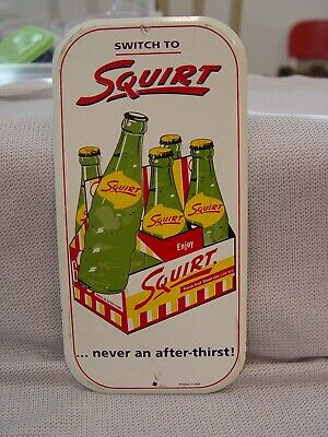Vintage Switch To Squirt Soda Six Pack Bottles Metal Advertising Door Push Sign