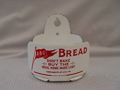 Vintage ABC Bread Co. Porcelain Advertising String Twine Holder Erickson