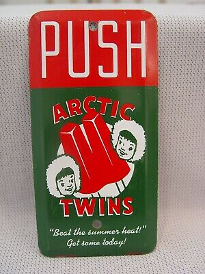 Vintage Arctic Twins Popsicle Ice Cream Metal Advertising Door Push Scioto Sign