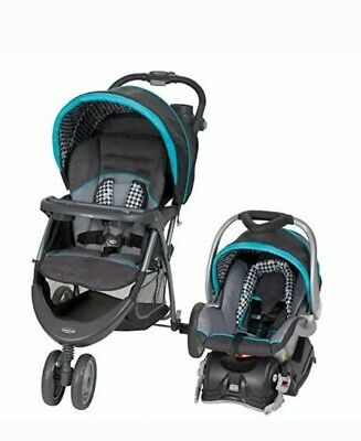Baby Trend EZ Ride 5 Travel System, Hounds Tooth Trolley Stroller and carseat