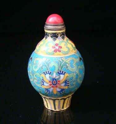 Collectibles 100% Handmade Painting Brass Cloisonne Enamel Snuff Bottles 004