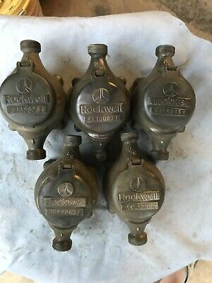 5 Vintage Antique Steampunk Rockwell Brass Water Meters Lamp Project 5/8""