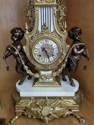 Beautiful Italian Brevettato Imperial Cherub Clock - Marble & Brass, Flawless!!!