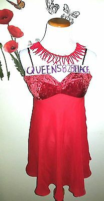 Victoria's Secret Womens Size M Medium Red Velvet CHEMISE NIGHTGOWN Babydoll