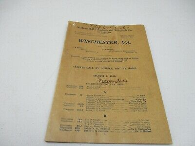 Vintage 1910 Winchester, Va Phone Book Southern Bell