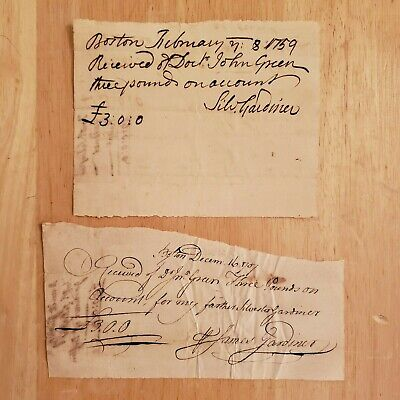 APOTHECARY / DR Silvester Gardiner SIGNED Medical Receipts (2), BOSTON 1757 - 59