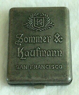 Antique Sommer & Kaufmann San Francisco advertising match safe vesta - c 1900
