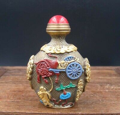 Collectible 100% Handmade Painting Brass Snuff Bottles NO-34
