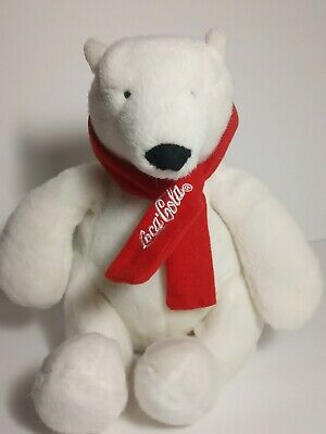 "Coca cola polar bear with red scarf plush 10"" 2007"