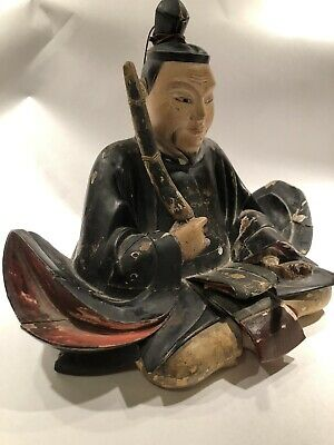 Rare Antique Japanese Wood Carving Of 'Tenjin' - Taisho Period