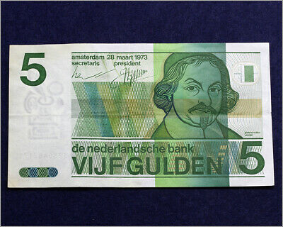 Netherlands 5 Gulden 1973 - ~XF Condition Circulated Banknote P-95a Prefix 3280